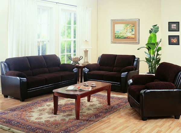 Monika Brown Wood Leather Like Vinyl 3pc Living Room Set CST-50281-SET