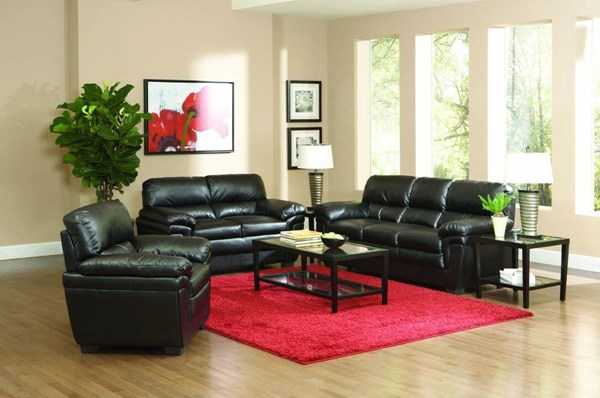 Fenmore Casual Black Leather-Like Fabric 3pc Living Room Set CST-50295-SET