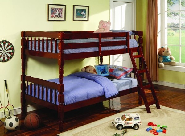 Casual Red Brown Wood Twin/Twin Bunk Bed CST-5040CH