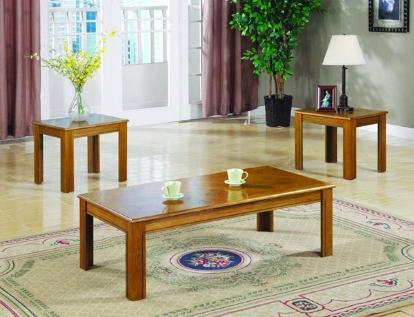 Transitional Amber Veneer Parquet Wood 3pc Coffee Table Set CST-5168