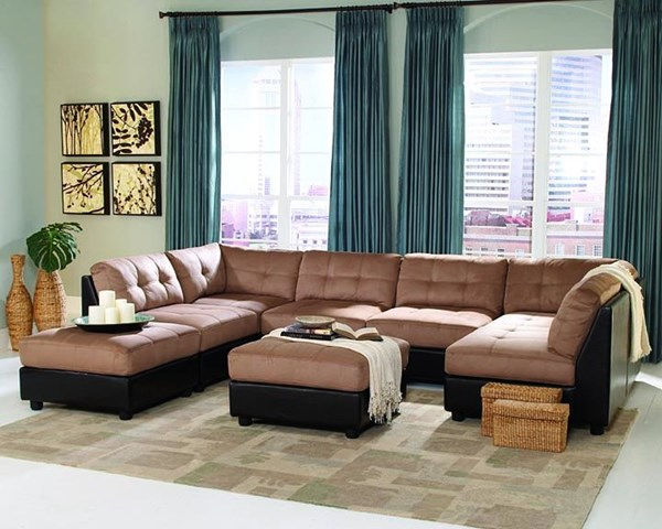Claude Casual Latte Fabric Tufted Back Sectional CST-55100
