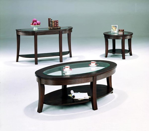 Transitional Cappuccino Wood Glass 3pc Coffee Table Set CST-G5525-S
