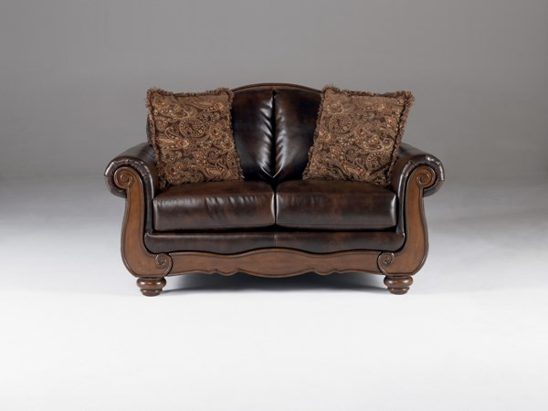 Barcelona Traditional Antique Faux Leather Loveseat W/Cushion Back 5530035