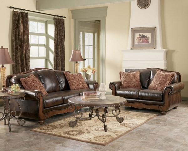 Barcelona Traditional Faux Leather Antique 4 Pc Living Room Set 55300-S