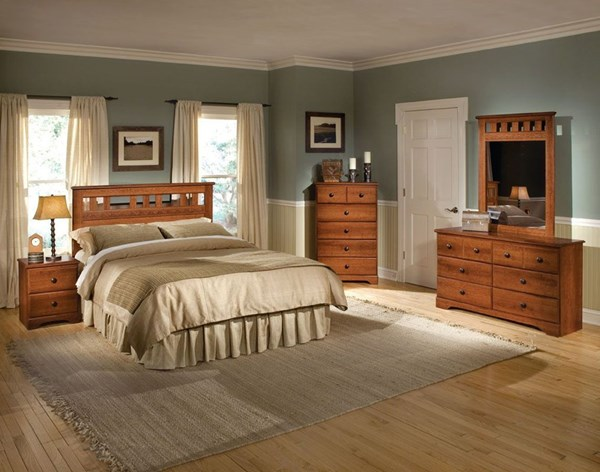 Orchard Park Brown Cherry Wood Panel Beds std-58700-Bed