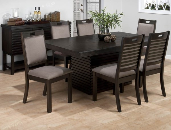 Sensei Transitional Oak Wood Fabric Dining Room Set JFN-588DT