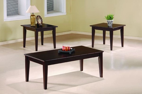 Transitional Cappuccino Wood 3pc Simple Design Coffee Table Set CST-5880