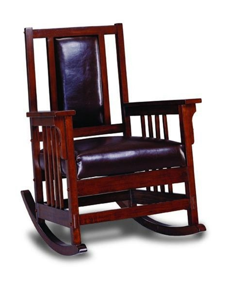 Tobacco Wood Bonded Leather Padded Back Rocker CST-600058