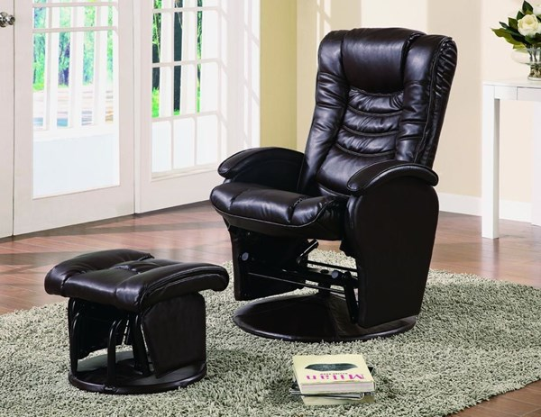 Brown Leather-Like Vinyl Glider With Ottoman CST-600165