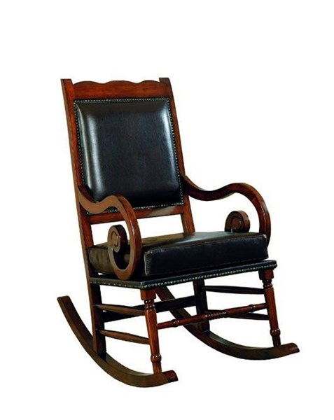 Traditional Bicast Wood Leather Rocking Chair W/Nailheads CST-600188