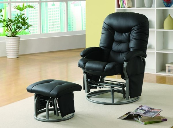 Casual Black Faux Leather Glider W/Ottoman CST-600227