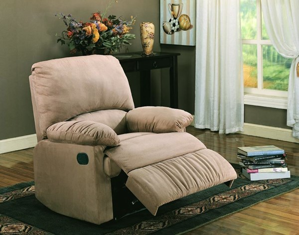 Casual Light Brown Microfiber Cushion Back Recliners CST-6002640
