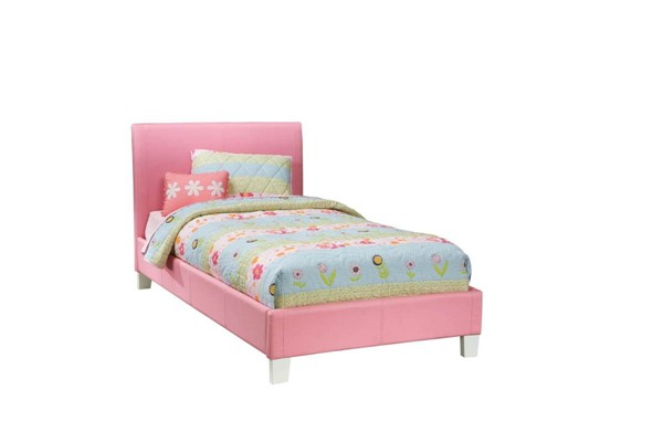 Fantasia Pink PVC Wood Vinyl Twin Platform Bed Std-60773-Std-60783