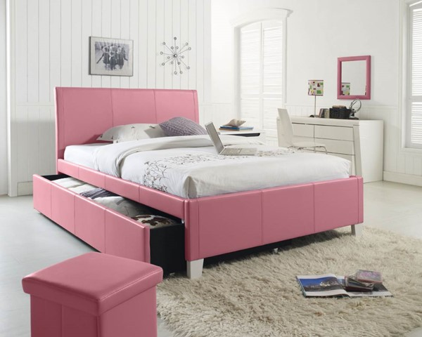 Fantasia Pink Faux Leather PVC Fabric Full Upholster Trundle Headboard STD-60778