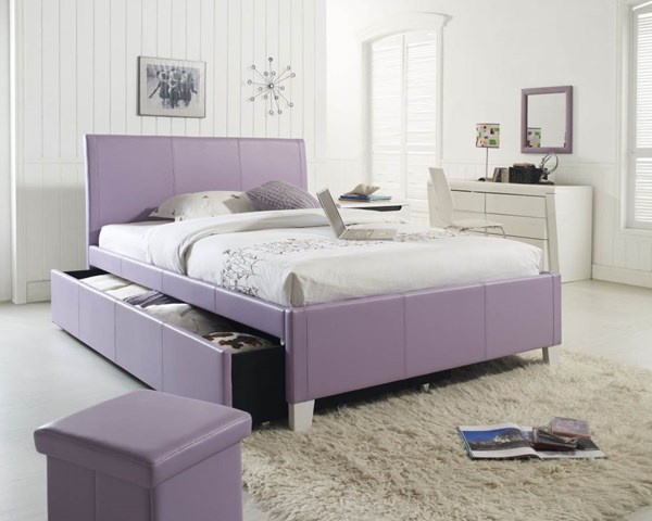 Fantasia Lavender Faux Leather PVC Fabric Twin Trundle Headboard STD-60768
