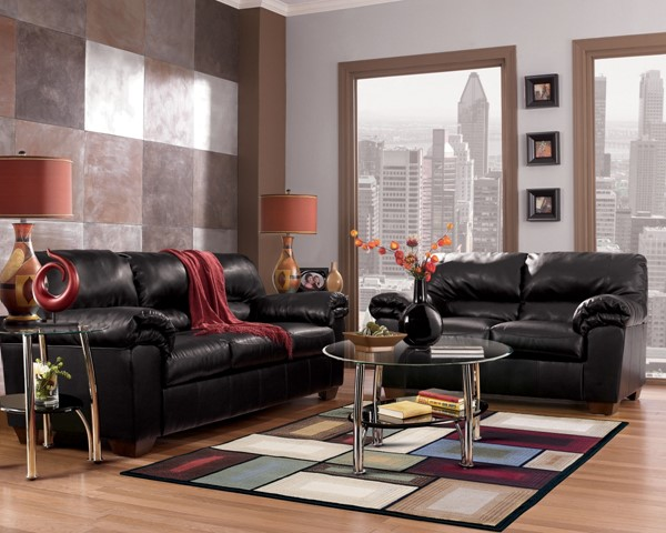 Commando Contemporary Black Faux Leather Living Room Set 64500