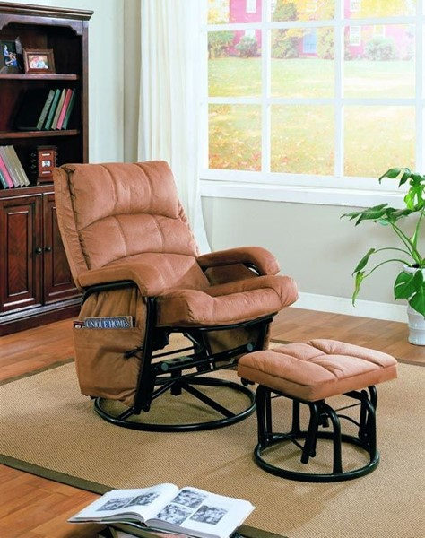 Casual Brown Microfiber Glider And Ottoman CST-650005