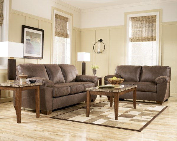 Amazon Contemporary Walnut Faux Leather Living Room Set 67505