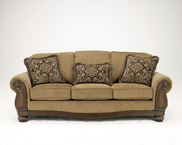 Lynnwood Traditional Amber Fabric Wood Sofa