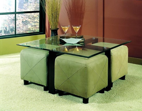 Coaster Furniture Black Coffee Table with Ottomans Set CST-G700026