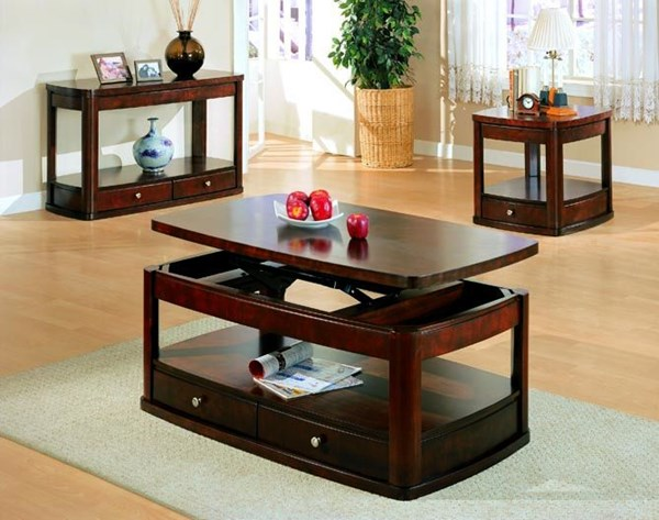 Casual Wood Lift Top Shelves Coffee Table Set CST-G700248