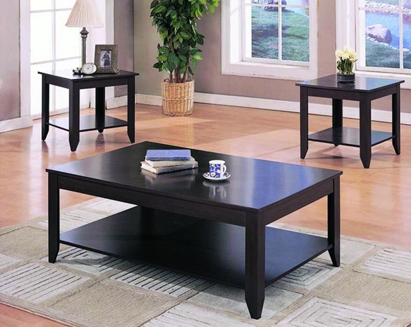Transitional Cappuccino Wood Rectangle 3pc Coffee Table Set CST-700285
