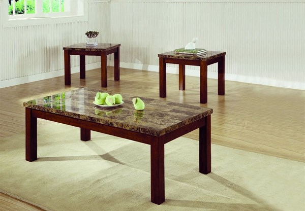 Transitional Warm Medium Brown Wood Marble-Like 3pc Coffee Table Set CST-700305