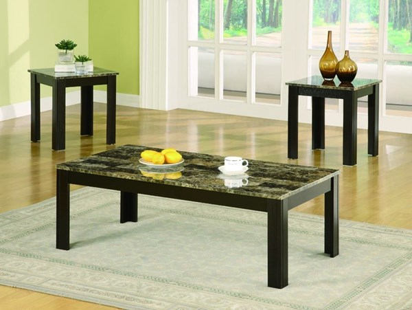 Transitional Black Wood Marble-Like 3pc Coffee Table Set CST-700375