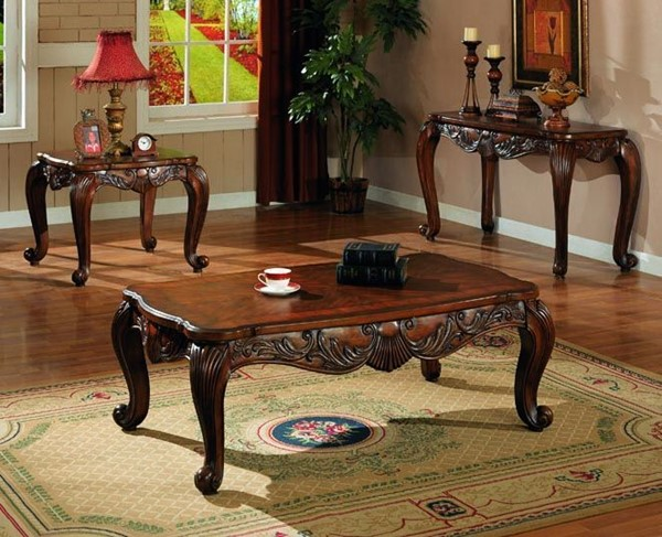 Traditional Deep Brown Wood Legs Coffee Table Set CST-G700468