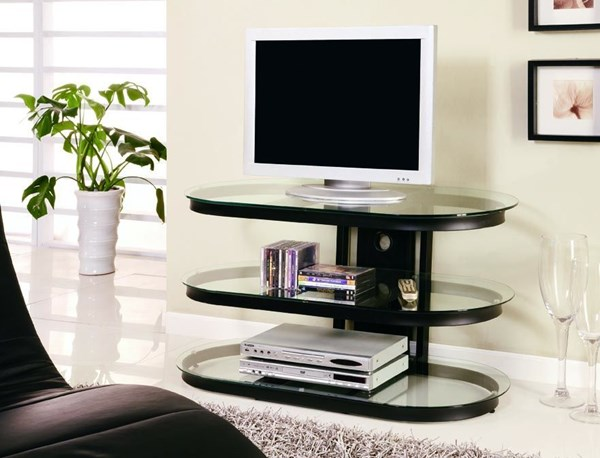 Contemporary Black Metal Glass Shelves TV Stand/Armoire CST-700611
