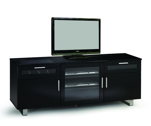 Contemporary TV Console w/High Gloss Black Finish CST-700672