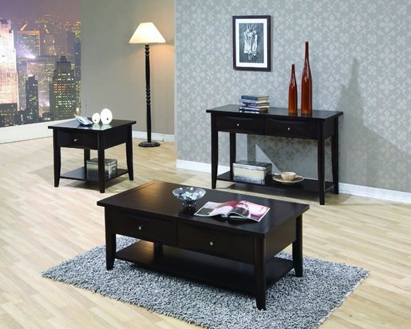 Transitional Cappuccino Wood Shelves Coffee Table Set CST-G700968