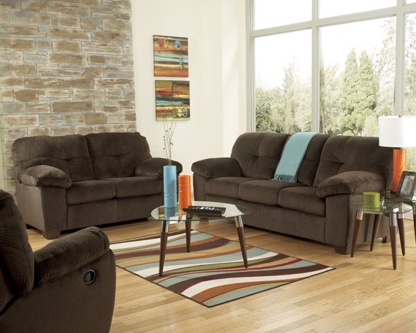 Inger Contemporary Chocolate Dune Fabric 3pc Living Room Set 701-set