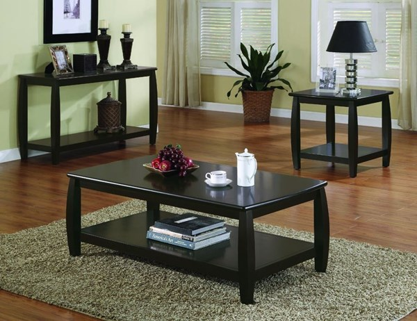 Transitional Espresso Wood Coffee Table Set CST-G701078