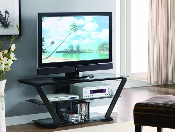 Contemporary Black Metal Glass TV Stand/Armoire CST-701370