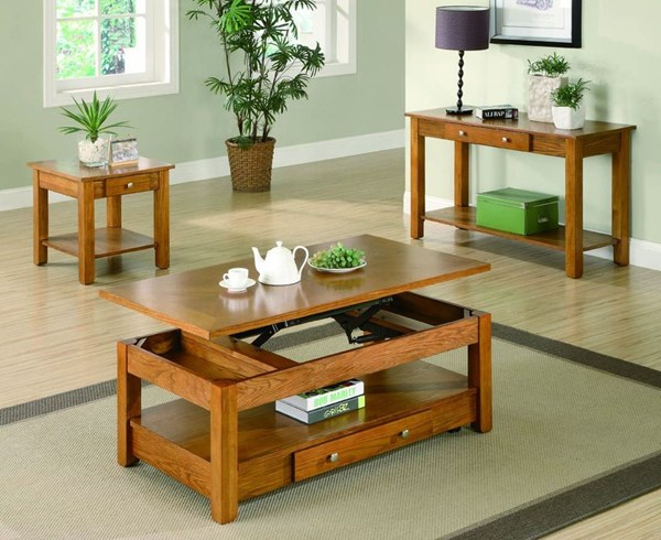 Traditional Oak Wood Lift Top 3pc Coffee Table Set CST-G701438-S