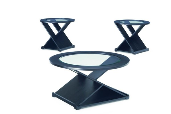 Contemporary Black Wood Glass 3pc Coffee Table Set CST-701501