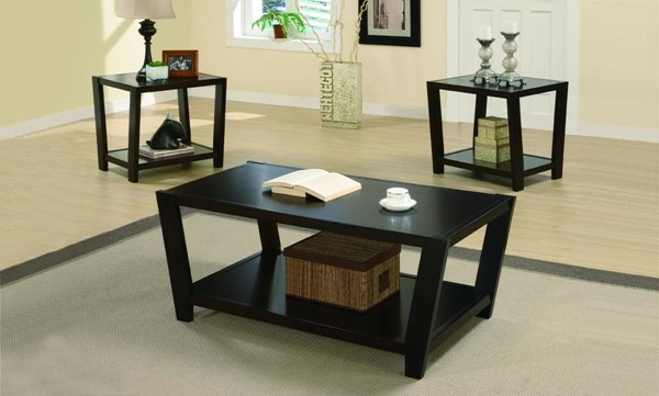 Contemporary Cappuccino Wood 3pc Coffee Table Set CST-701510