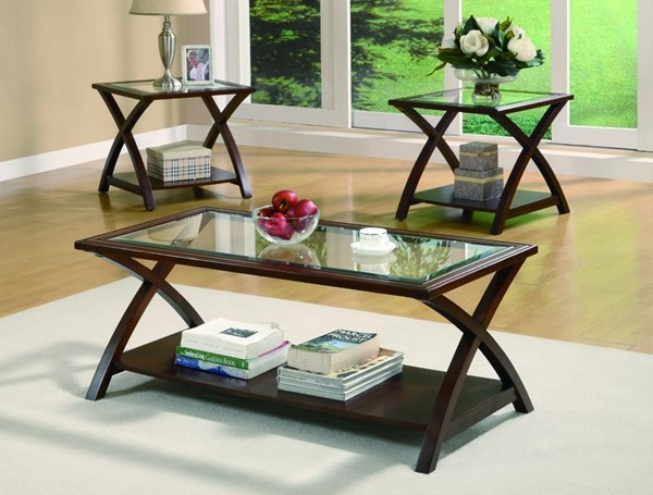 Transitional Cappuccino Wood Glass 3pc Coffee Table Set W/2 Ends CST-701527