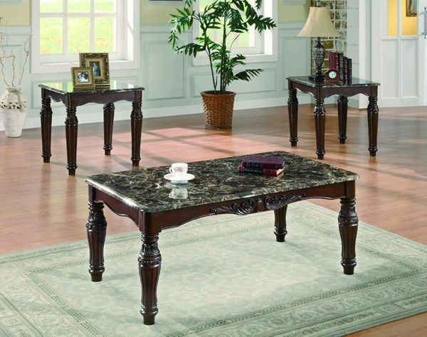 Coaster Furniture Rich Merlot Faux Marble 3 In 1 Pack CST-701554