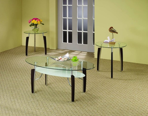 Contemporary Cappuccino Wood Metal Glass 3pc Coffee Table Set CST-701558