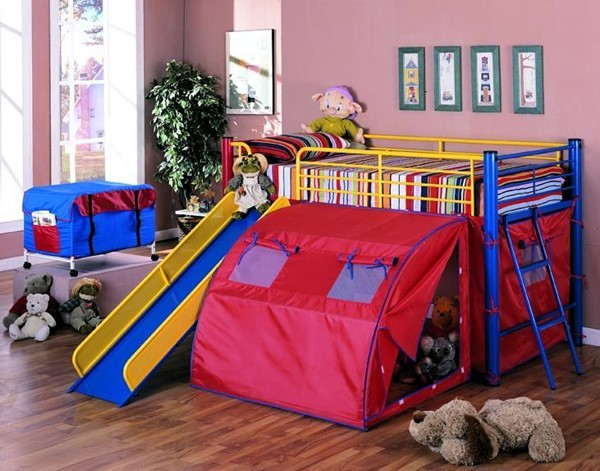 Red Blue Yellow Metal Coordinating Ladder Bunk Bed CST-7239