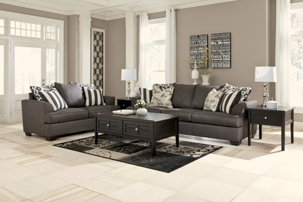 Levon Contemporary Charcoal Fabric Living Room Set 73403