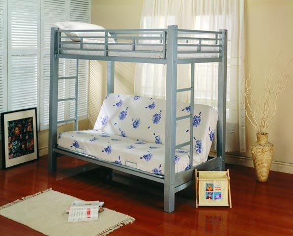 Glossy Silver Metal Buit-In Ladders Bunk Bed CST-7399