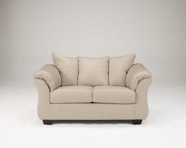 Darcy Contemporary Stone Fabric Pillow Back Loveseat 7500035