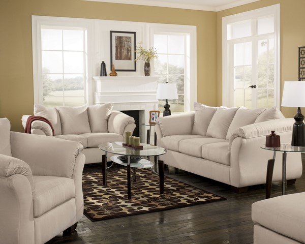Darcy Contemporary Stone Fabric Wood 3pc Living Room Set 75000-S