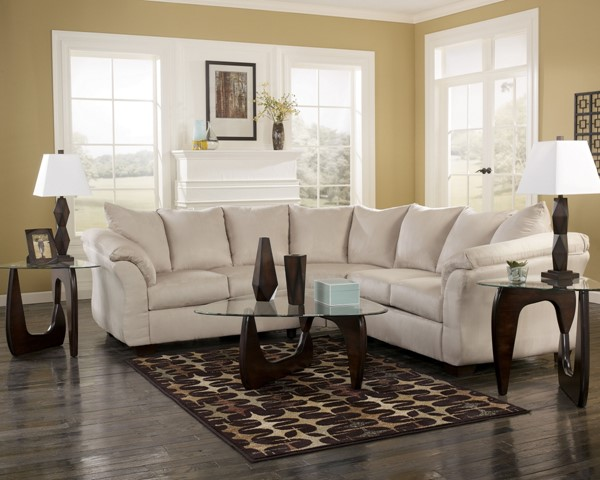 Darcy Contemporary Stone Fabric RAF Loveseat 7500056