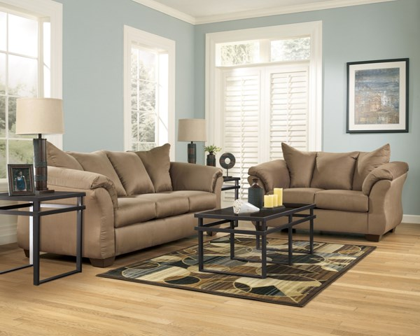 Darcy Contemporary Mocha Fabric 3pc Living Room Set 75002-S