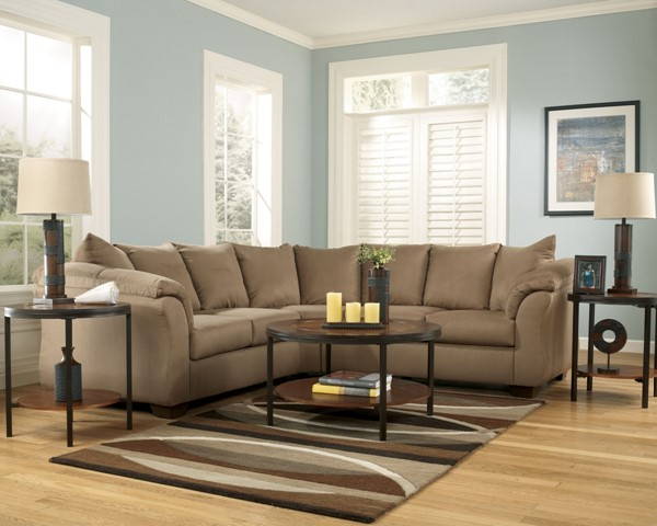 Darcy Contemporary Mocha Fabric Cushion Back Sectional 75002-S1