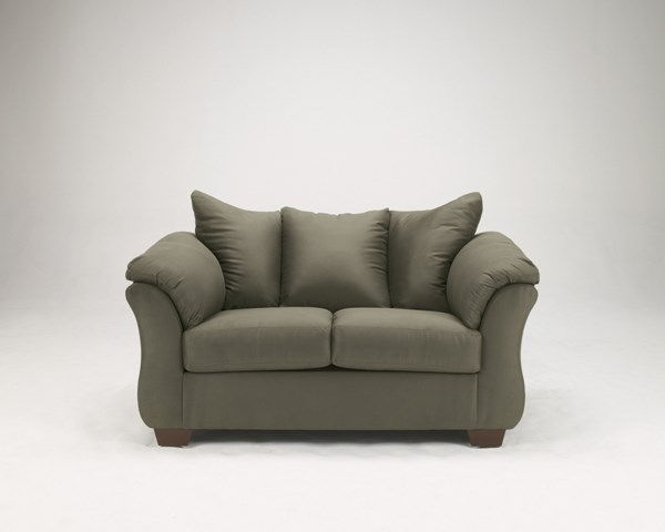 Darcy Contemporary Sage Fabric Pillow Back Loveseat 7500335
